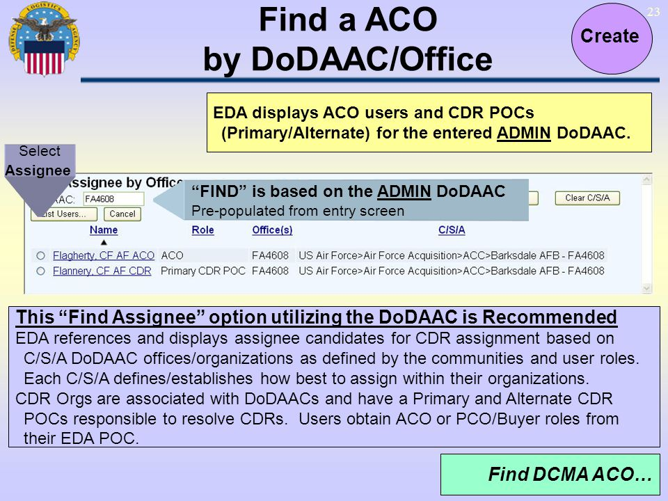 Find a ACO by DoDAAC/Office