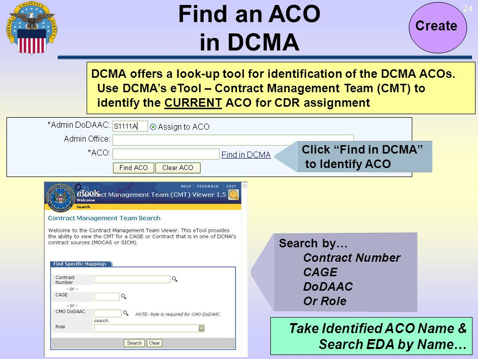 Find an ACO in DCMA Create