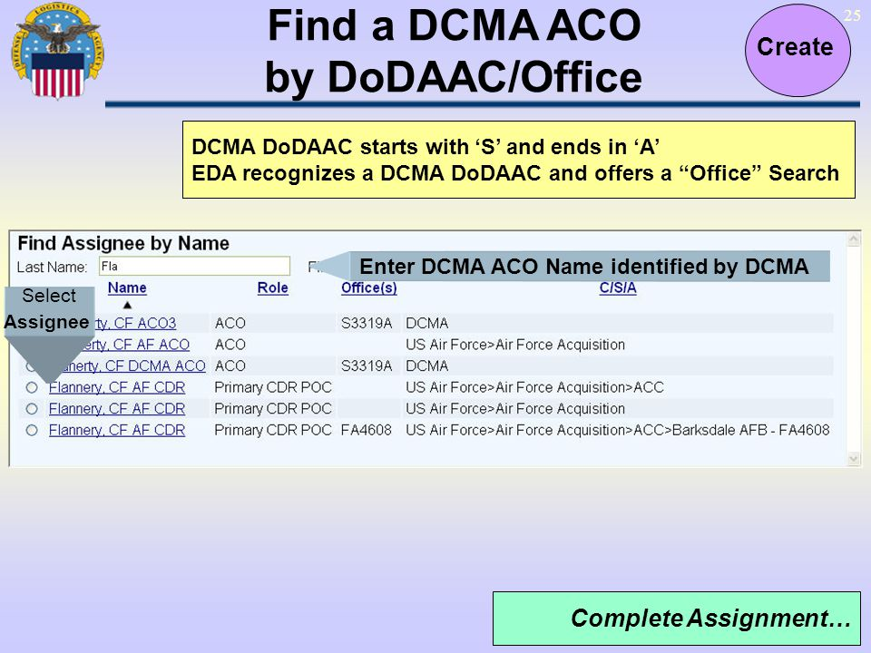 Find a DCMA ACO by DoDAAC/Office