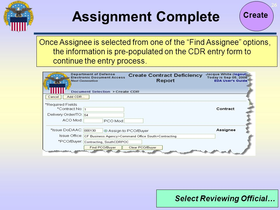 Assignment Complete Create