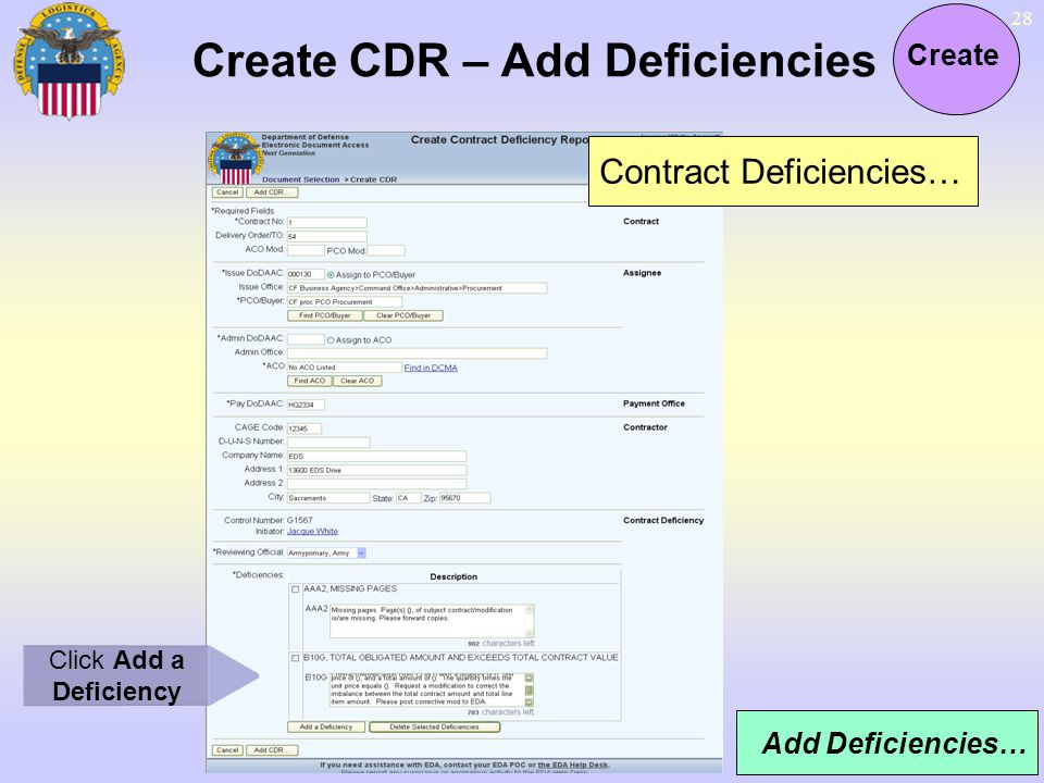 Create CDR – Add Deficiencies