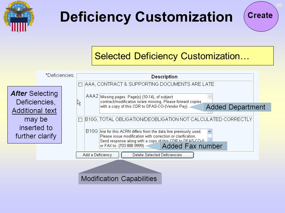 Deficiency Customization