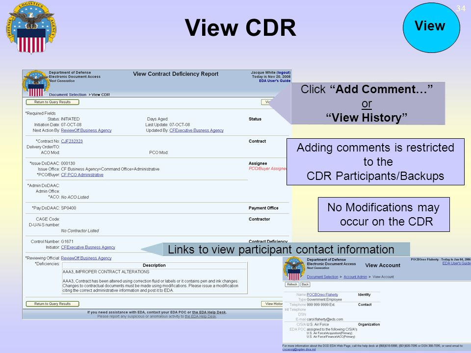 View CDR View Click Add Comment… or View History