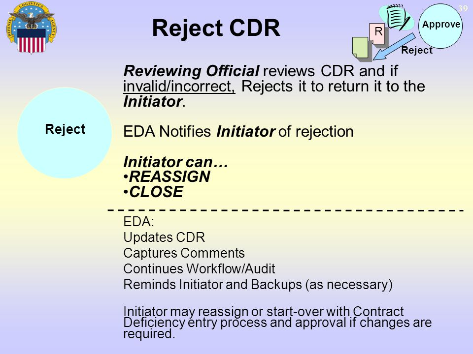 Reject CDR Approve. R. Reject. Reviewing Official reviews CDR and if invalid/incorrect, Rejects it to return it to the Initiator.