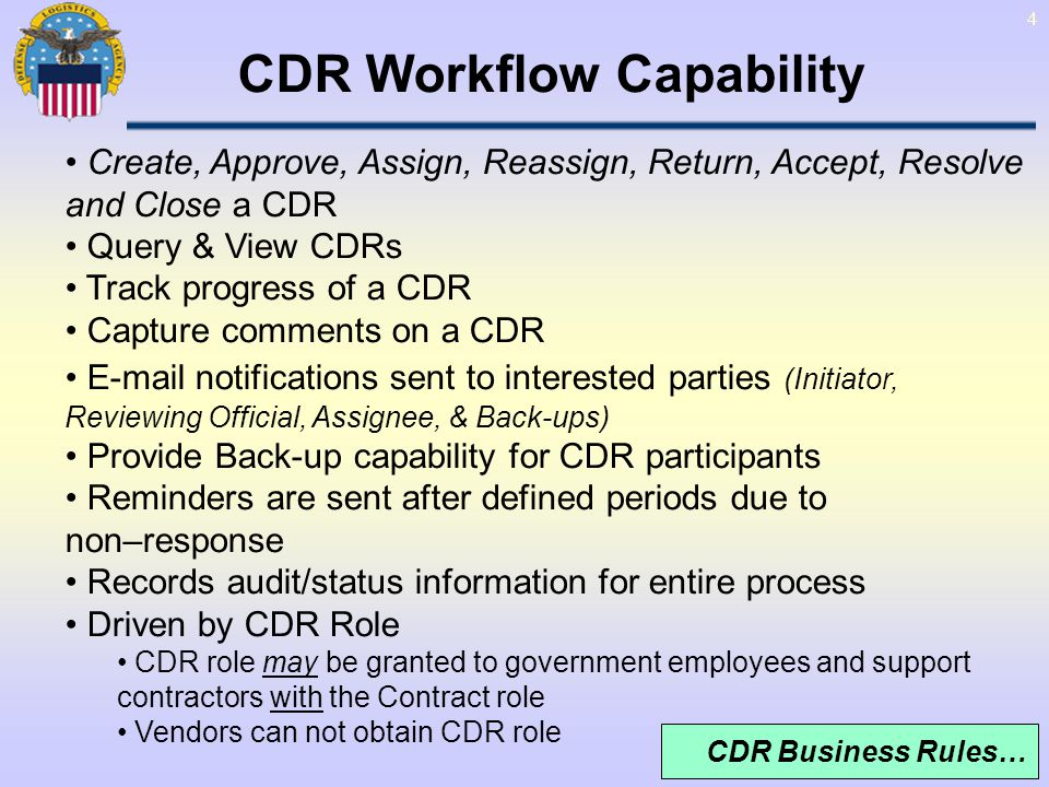 CDR Workflow Capability