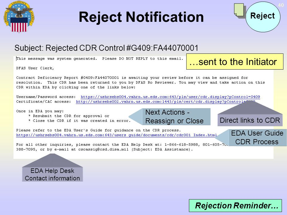Reject Notification …sent to the Initiator Reject