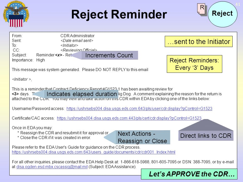 Reject Reminder Reject …sent to the Initiator Let's APPROVE the CDR… R