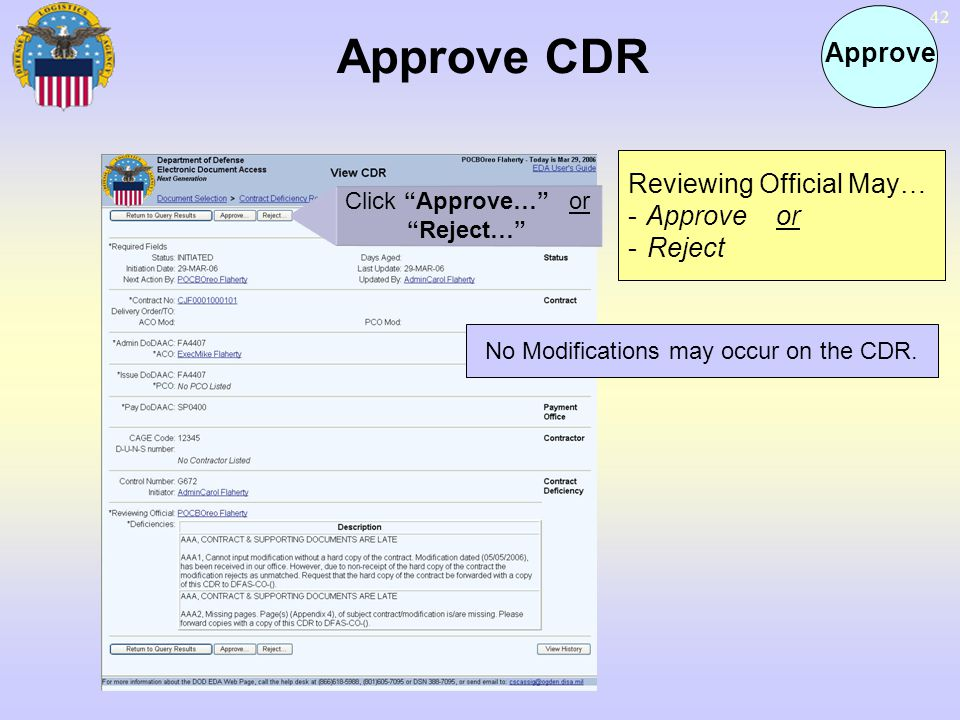 No Modifications may occur on the CDR.