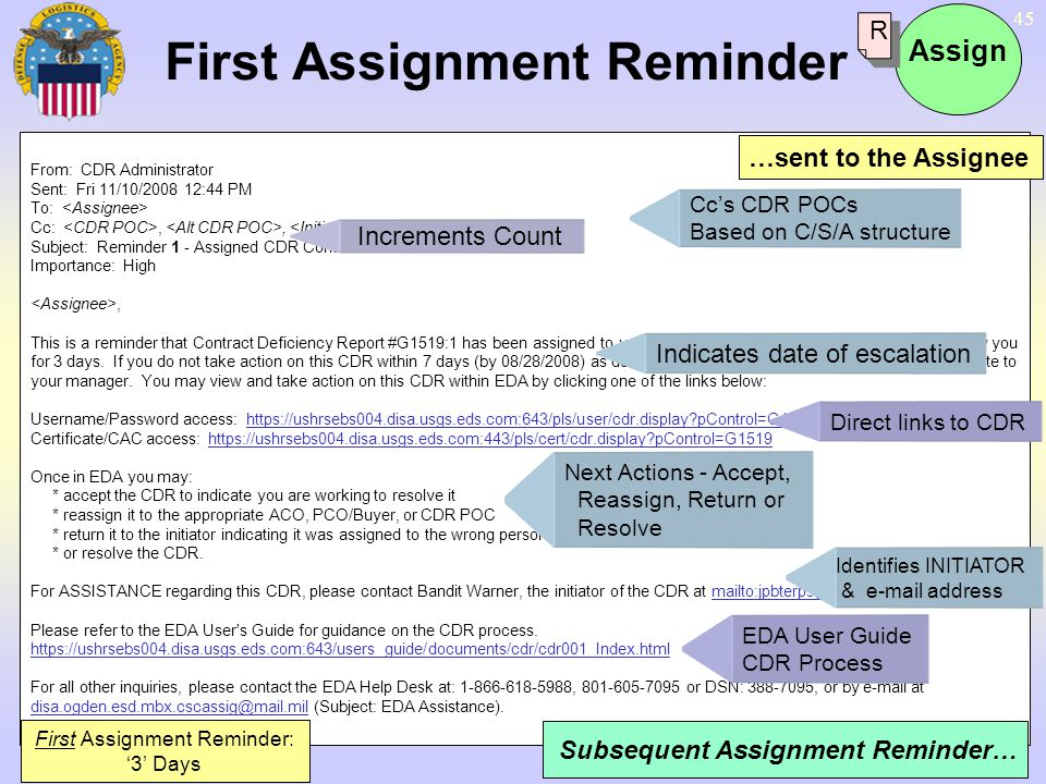 First Assignment Reminder