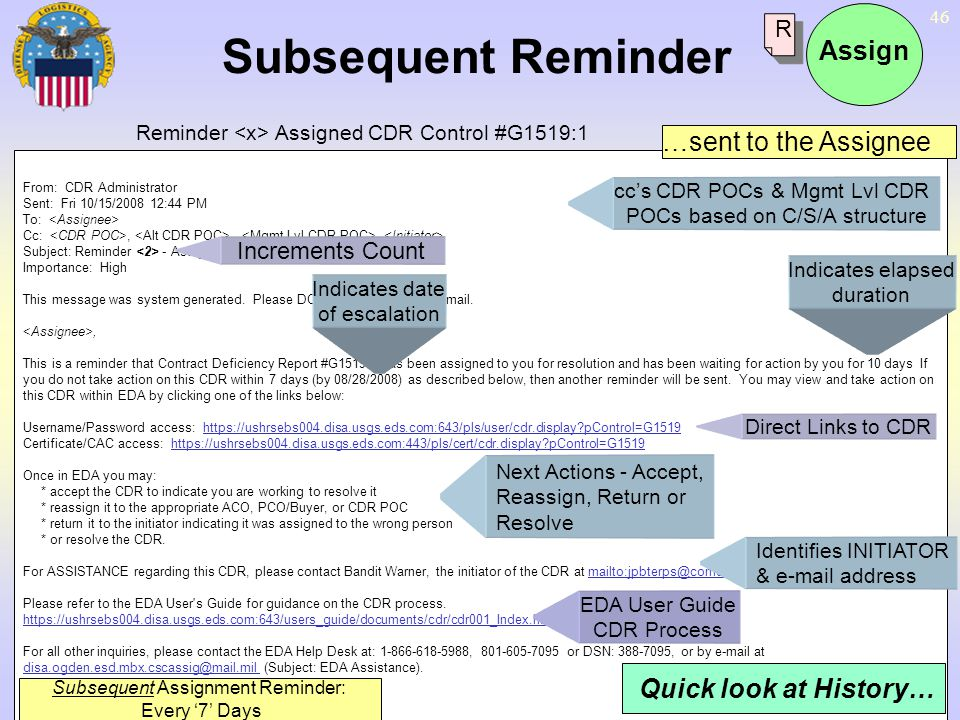Subsequent Assignment Reminder: