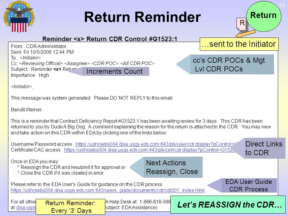 Return Reminder Return …sent to the Initiator Let's REASSIGN the CDR…