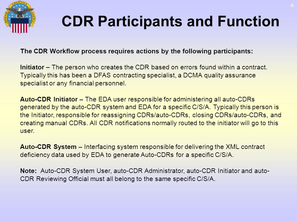 CDR Participants and Function