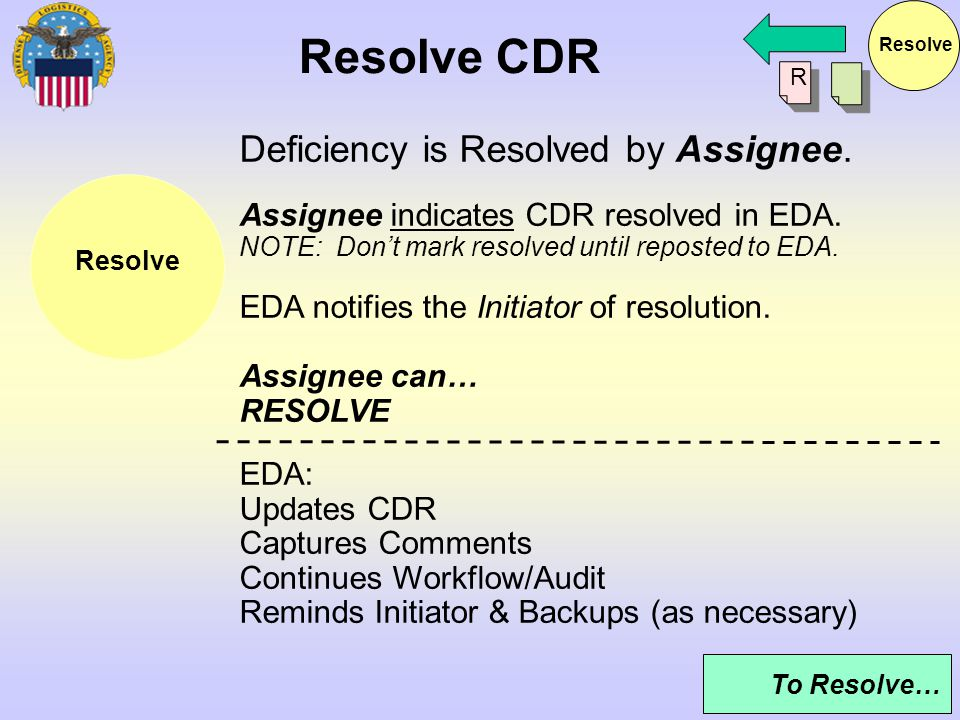 Resolve CDR Deficiency is Resolved by Assignee.
