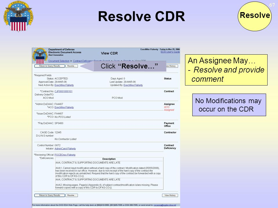 Resolve CDR Resolve An Assignee May… Resolve and provide comment
