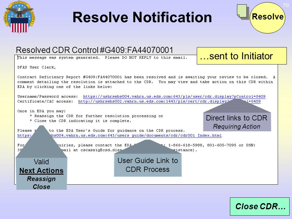 Resolve Notification …sent to Initiator Resolve