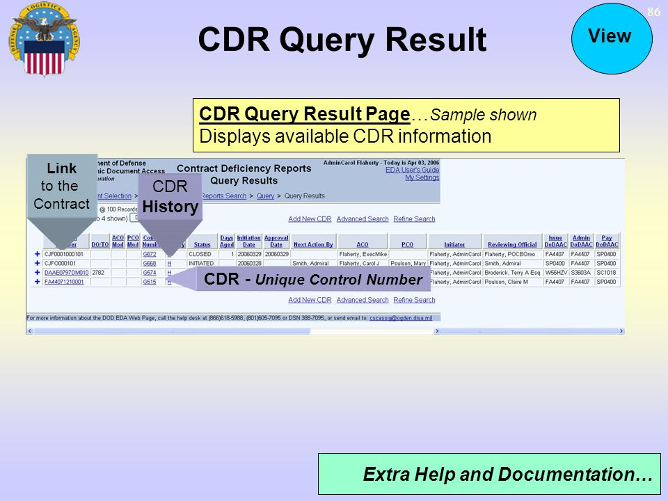 CDR Query Result View CDR Query Result Page…Sample shown