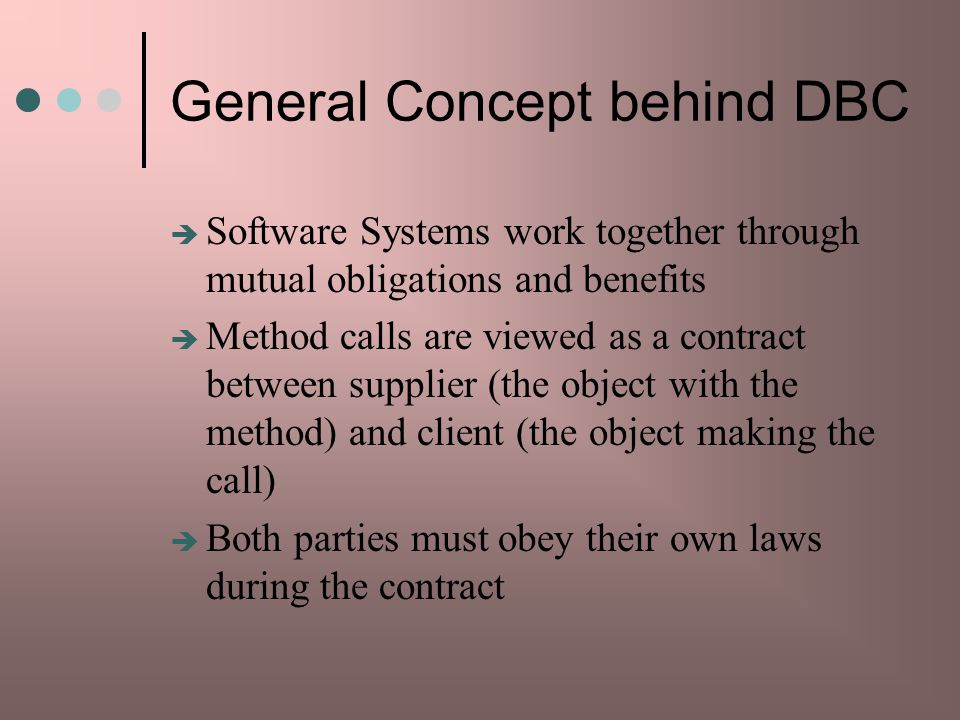 General Concept behind DBC