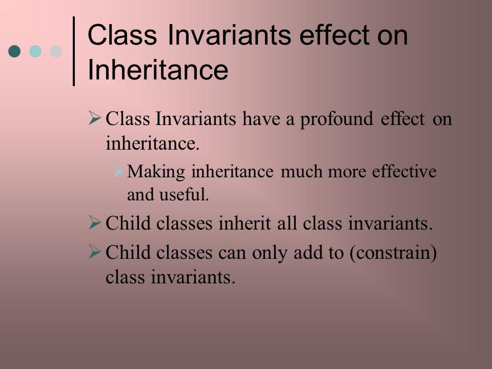 Class Invariants effect on Inheritance
