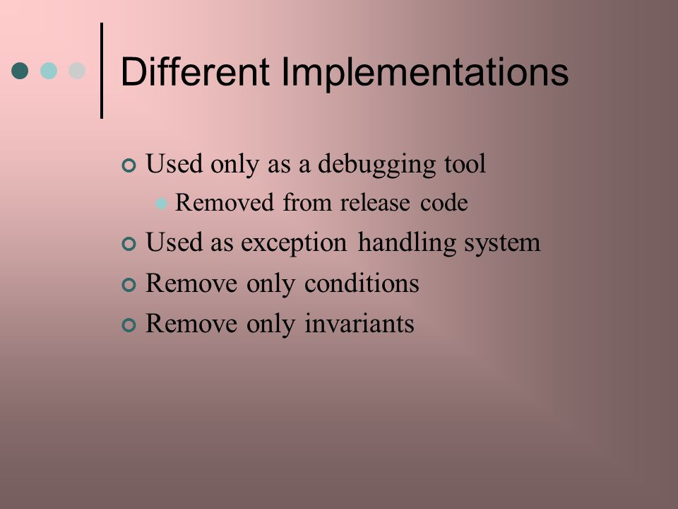 Different Implementations