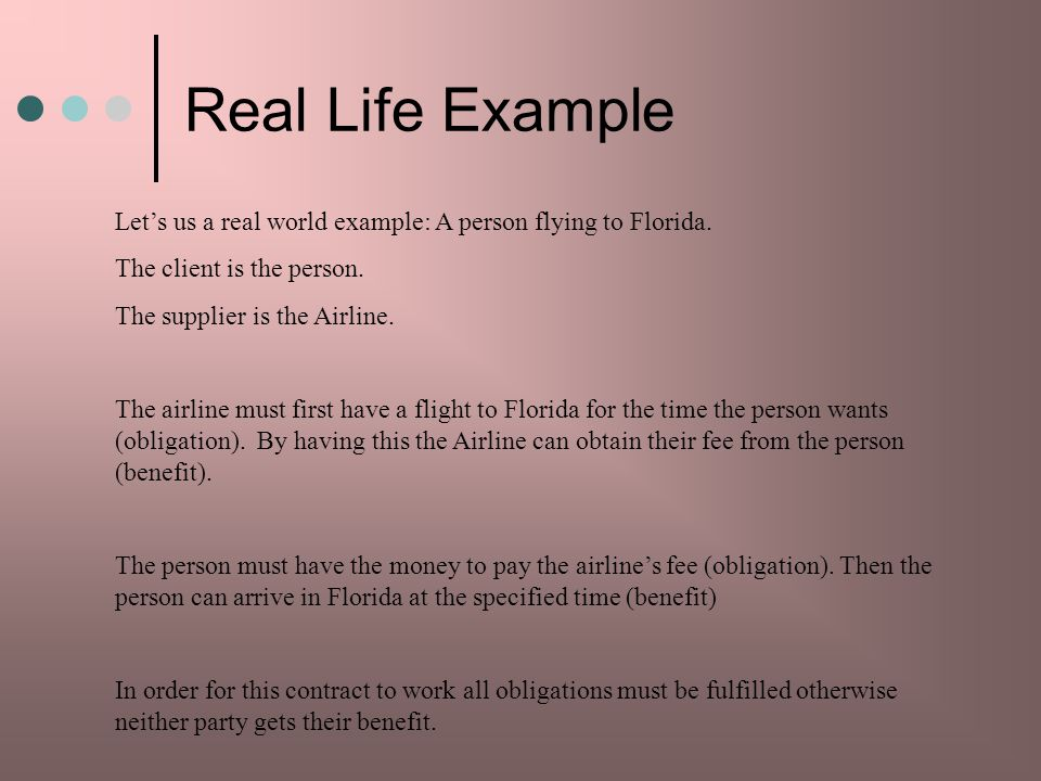 Real Life Example Let's us a real world example: A person flying to Florida. The client is the person.