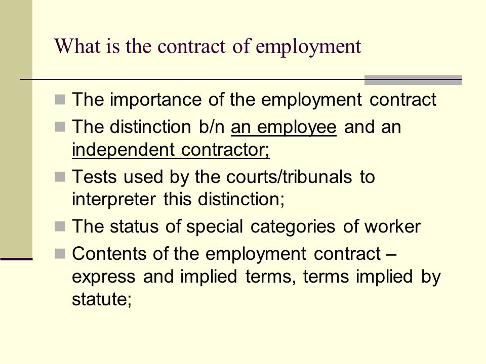 What is the contract of employment