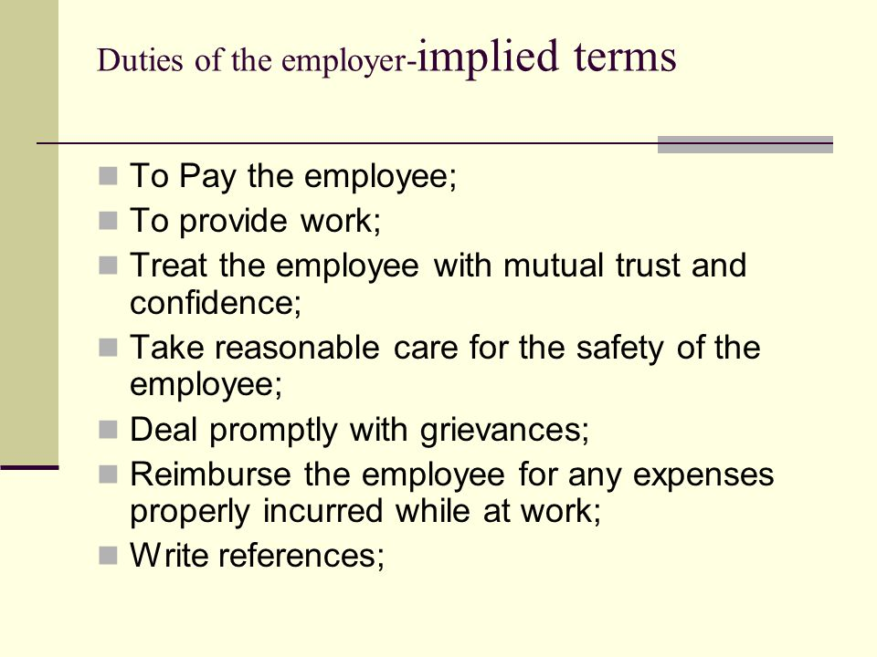 Duties of the employer-implied terms
