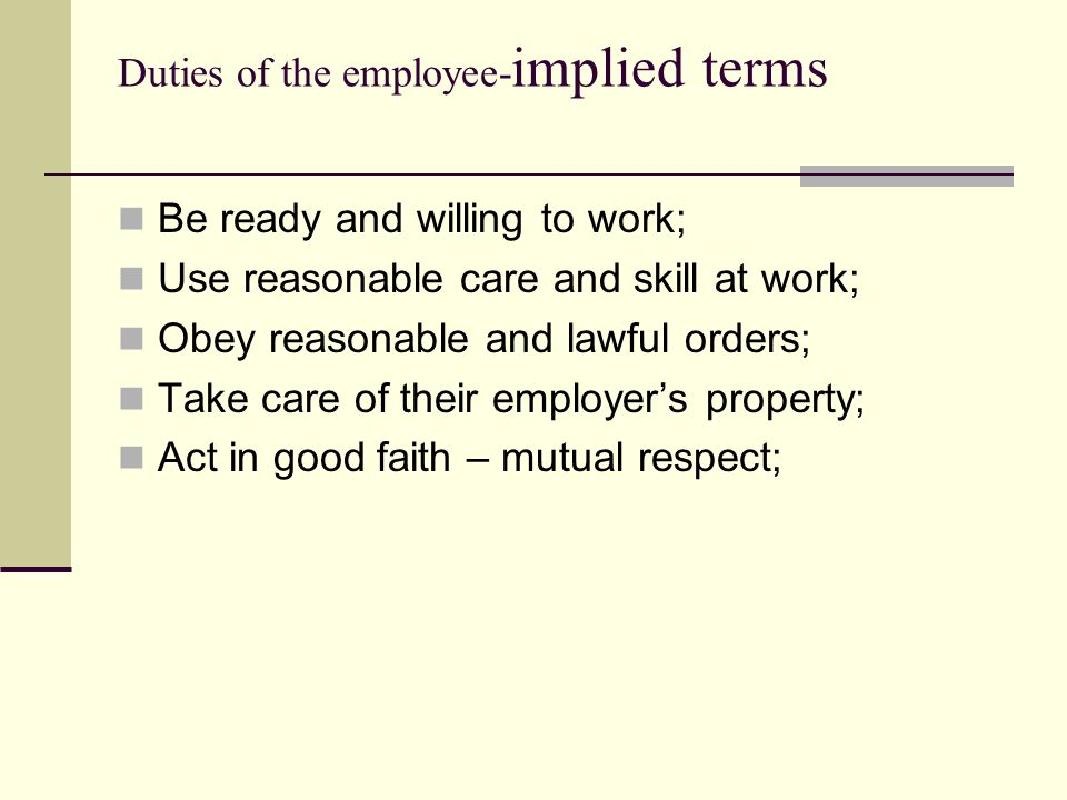 Duties of the employee-implied terms