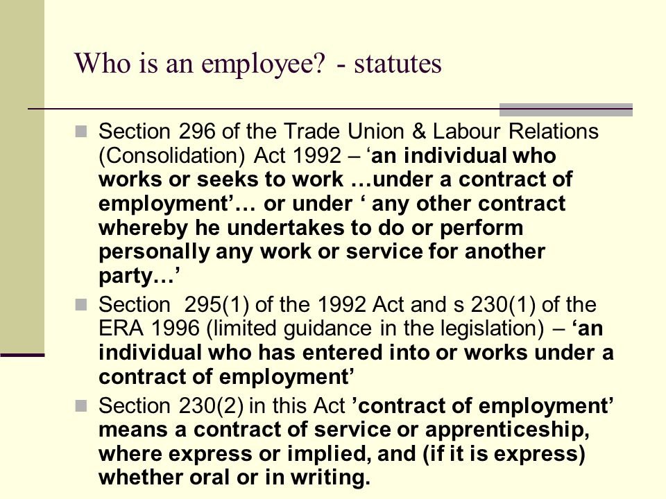 Who is an employee - statutes