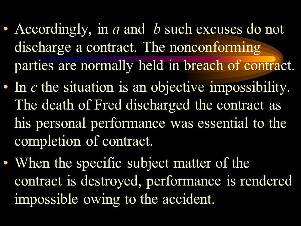 Accordingly, in a and b such excuses do not discharge a contract