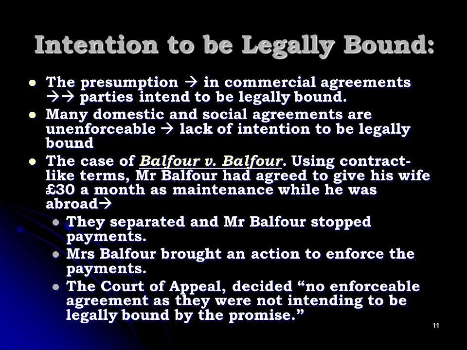 Intention to be Legally Bound: