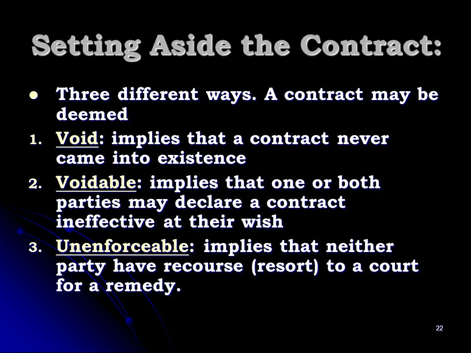 Setting Aside the Contract: