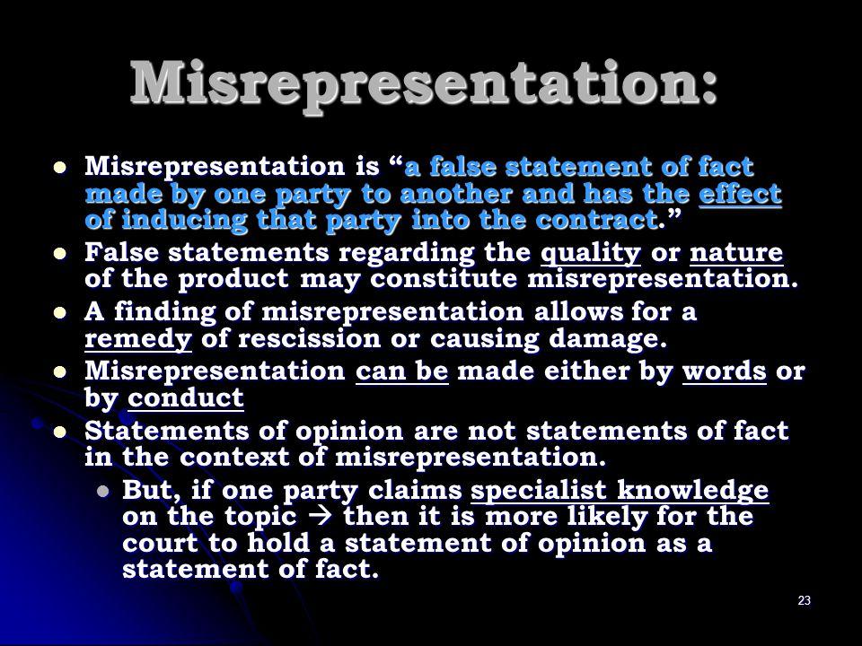Misrepresentation: