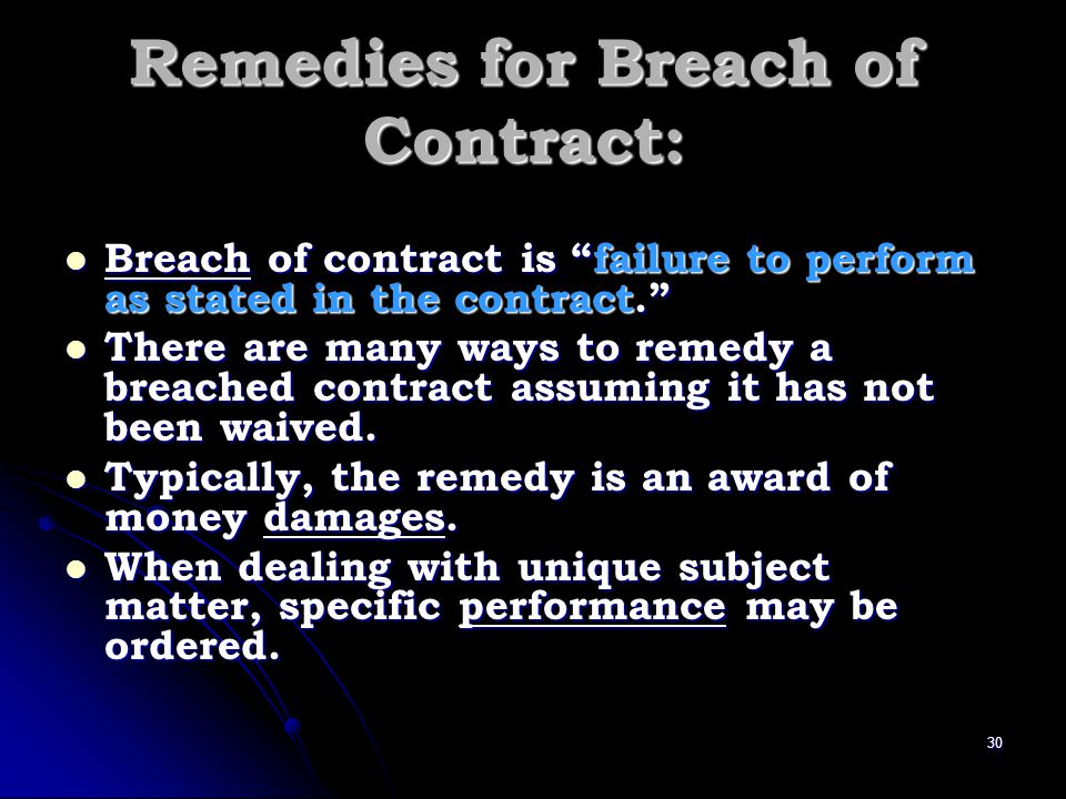 Remedies for Breach of Contract: