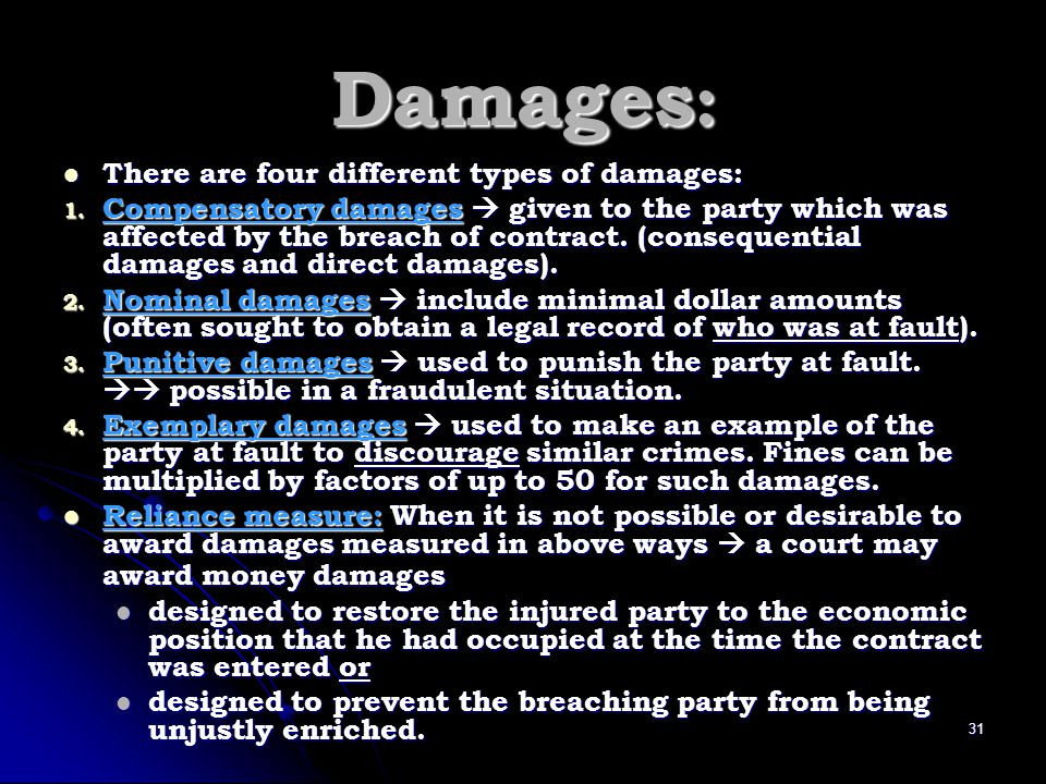 Damages: There are four different types of damages: