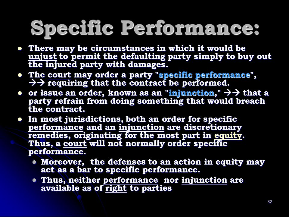 Specific Performance: