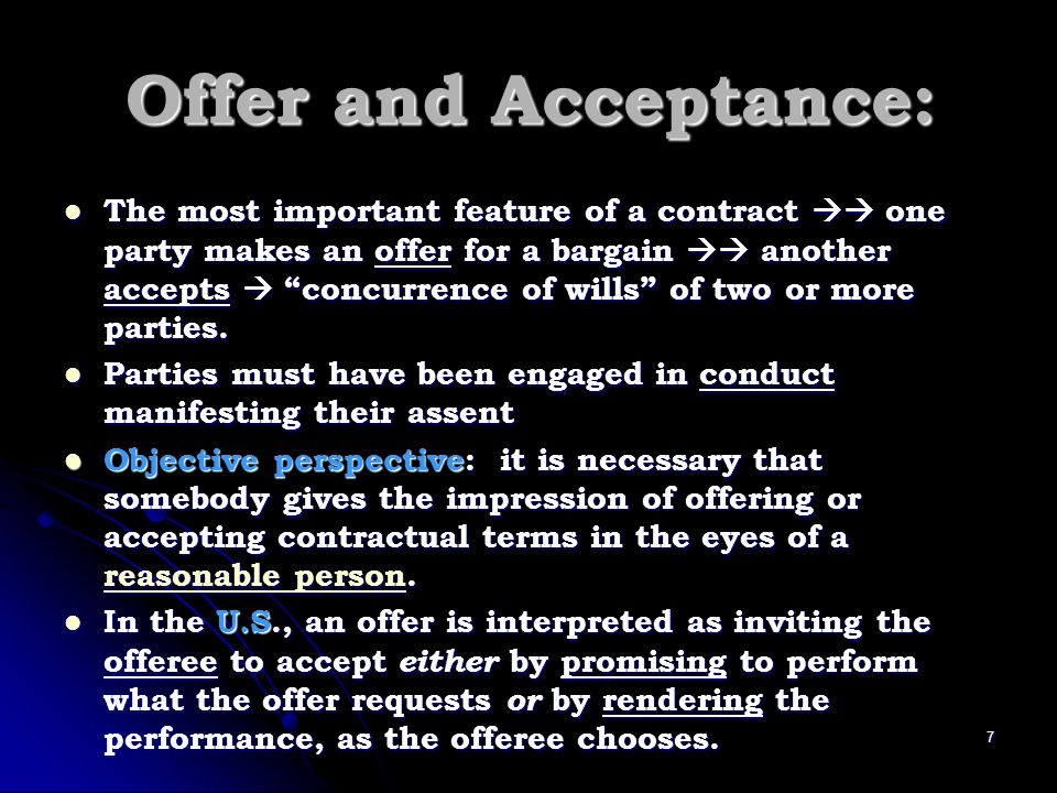 Offer and Acceptance: