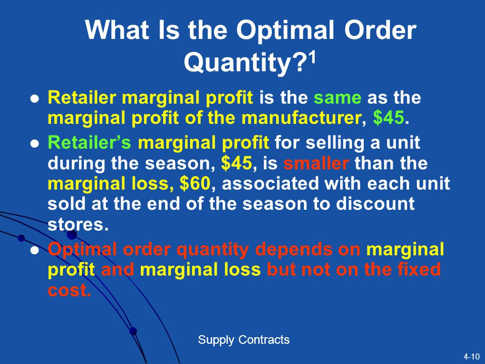 What Is the Optimal Order Quantity 1