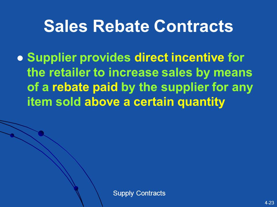 Sales Rebate Contracts