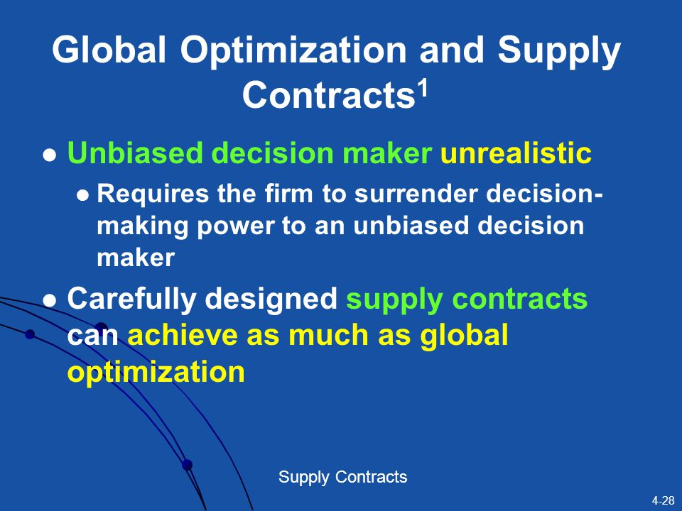 Global Optimization and Supply Contracts1