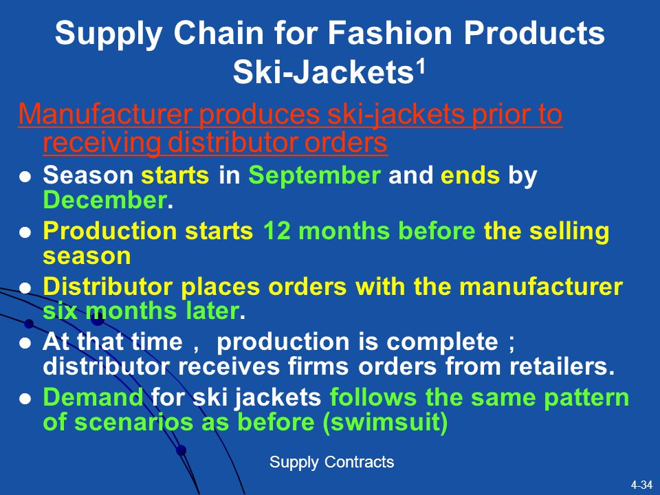 Supply Chain for Fashion Products Ski-Jackets1