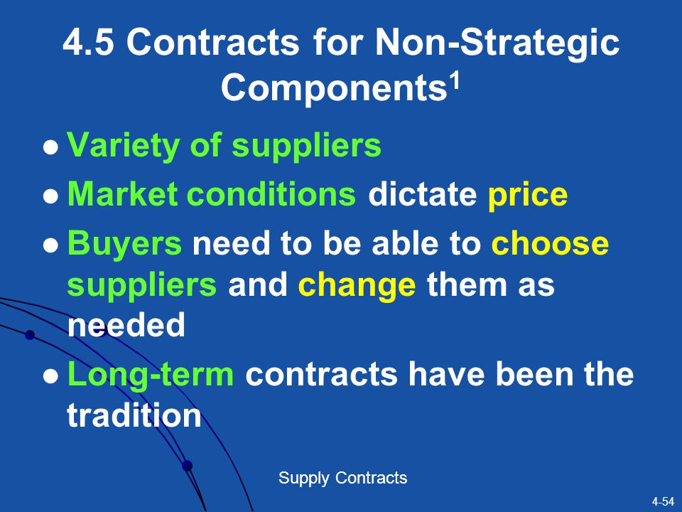 4.5 Contracts for Non-Strategic Components1