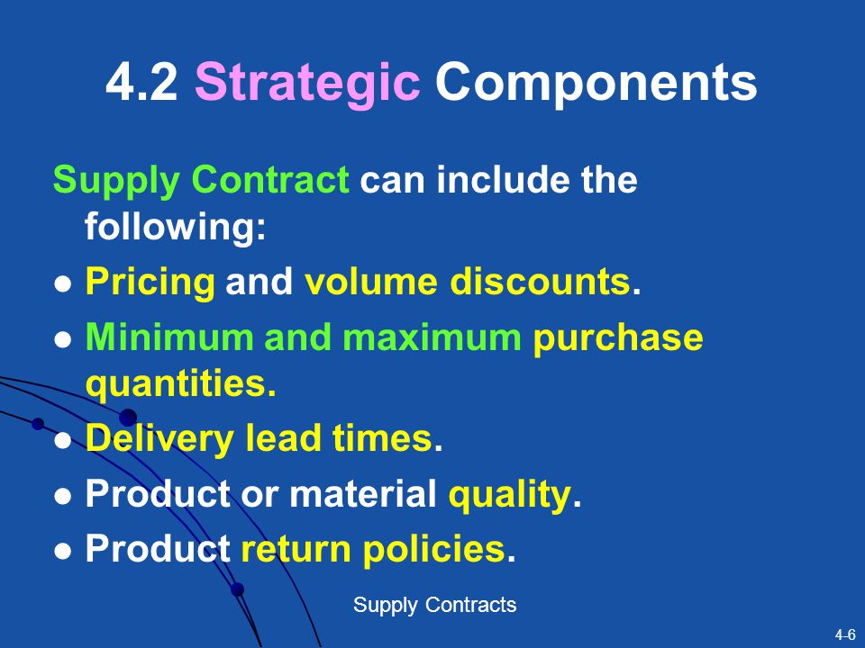 4.2 Strategic Components Supply Contract can include the following:
