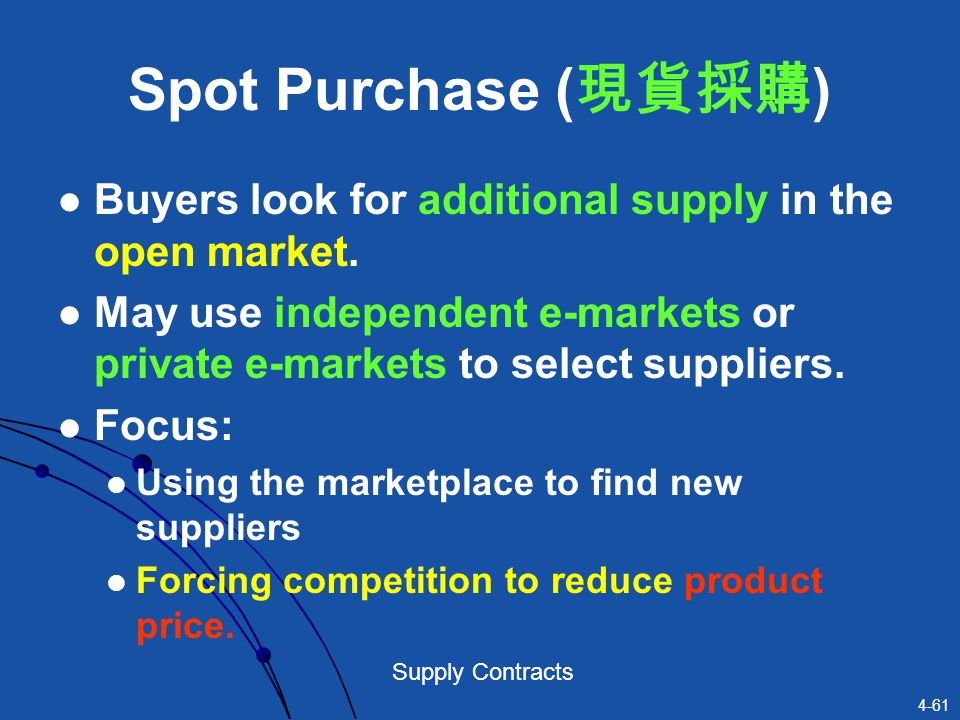 Spot Purchase (現貨採購) Buyers look for additional supply in the open market. May use independent e-markets or private e-markets to select suppliers.