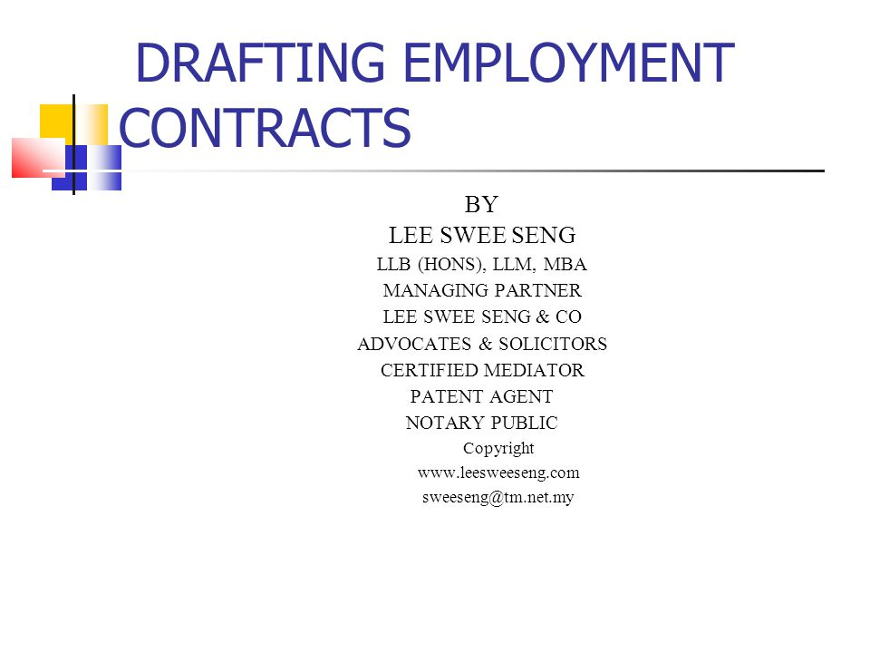 Drafting Employment Contracts - Ppt Download
