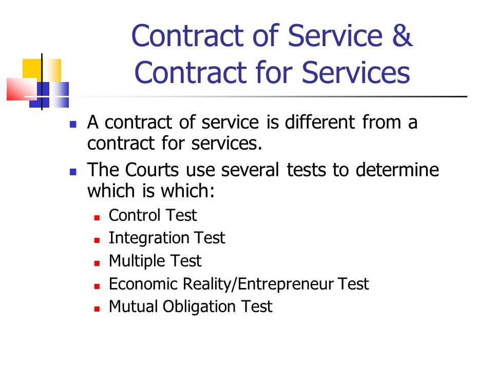 Contract of Service & Contract for Services