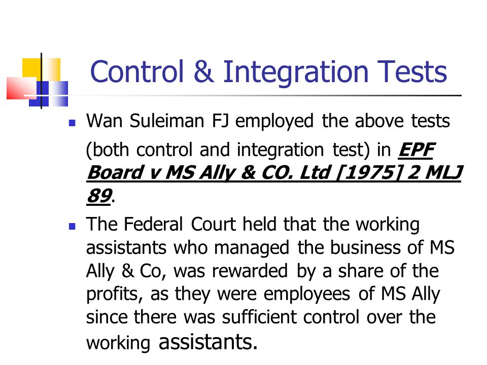 Control & Integration Tests