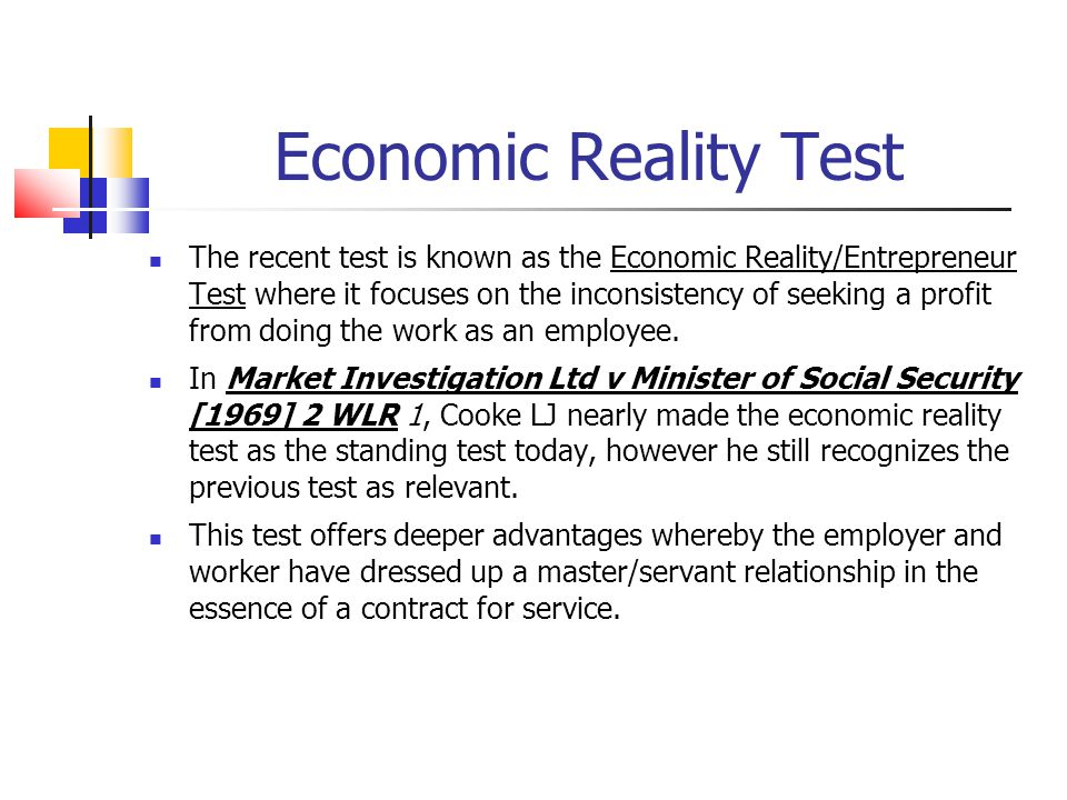 Economic Reality Test