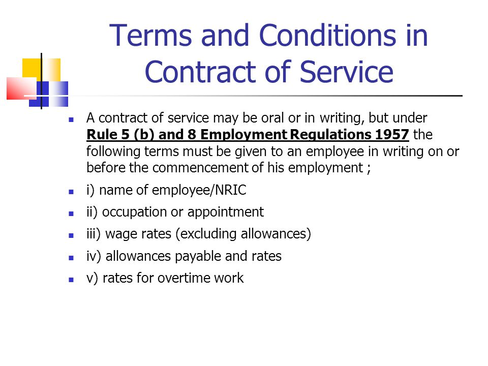 Terms and Conditions in Contract of Service