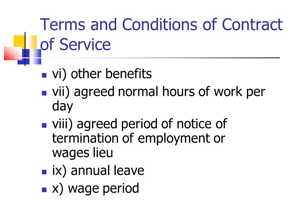 Terms and Conditions of Contract of Service