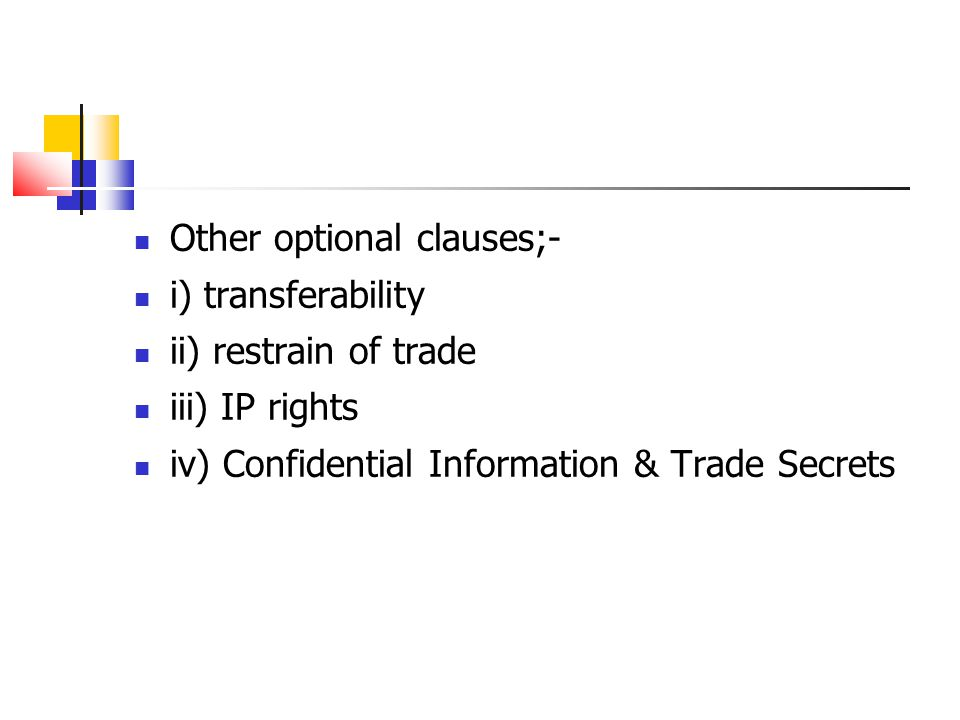 Other optional clauses;-